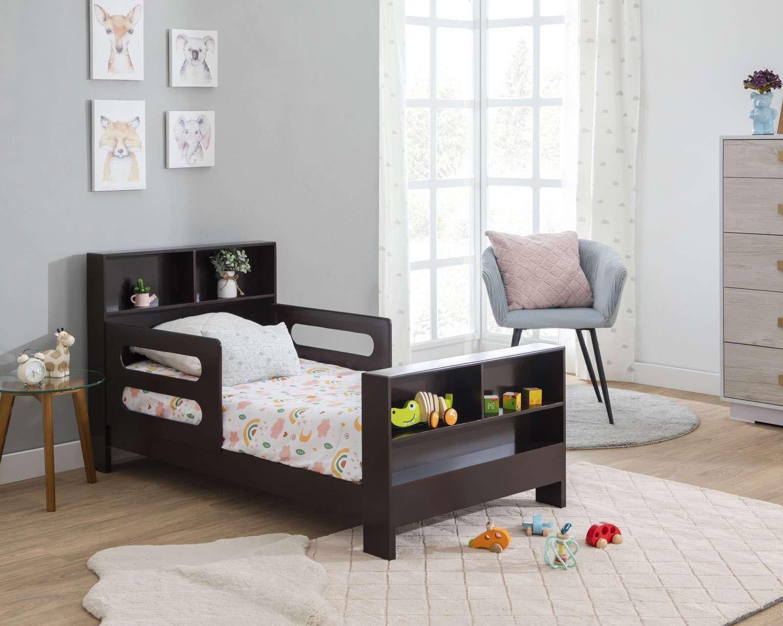 Cama Infantil Lucero de madera de Pino color Chocolate