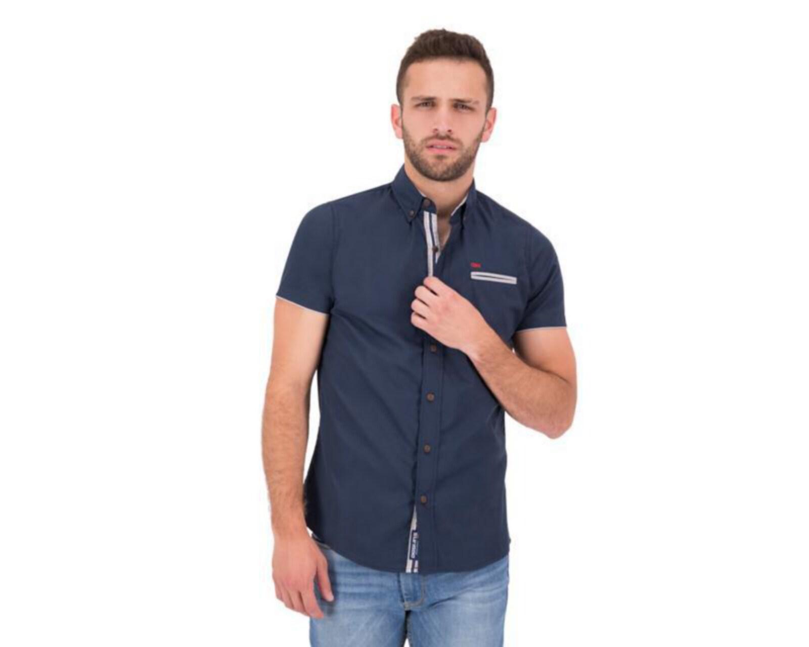 Camisa Manga Corta color Azul marca Oggi para Hombre