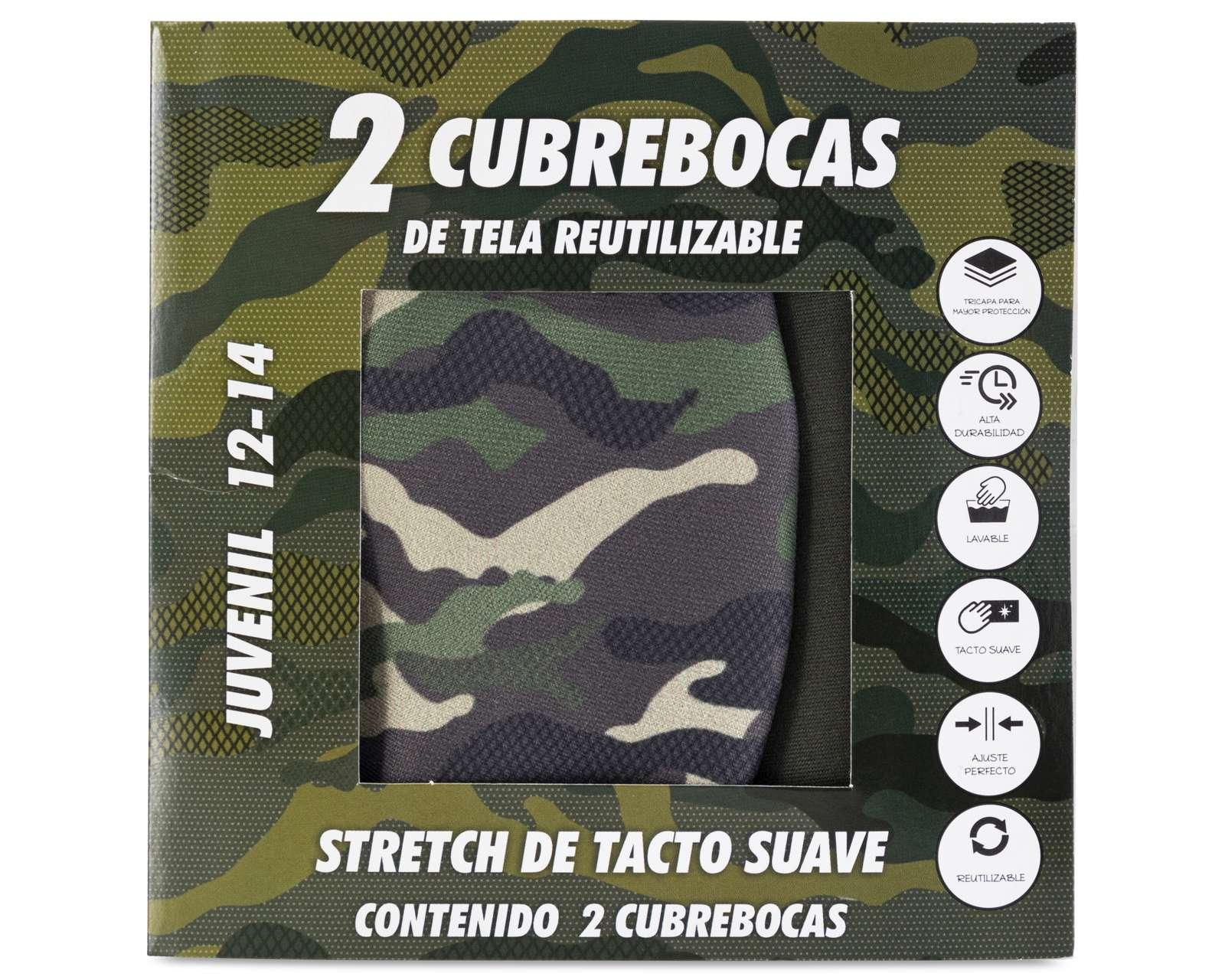 Foto 4 Cubrebocas de Tres Capas Reutilizables con 2 Piezas